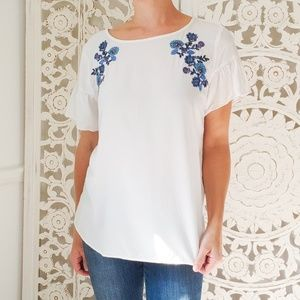 LOFT White Blouse with Floral Embroidery Size M